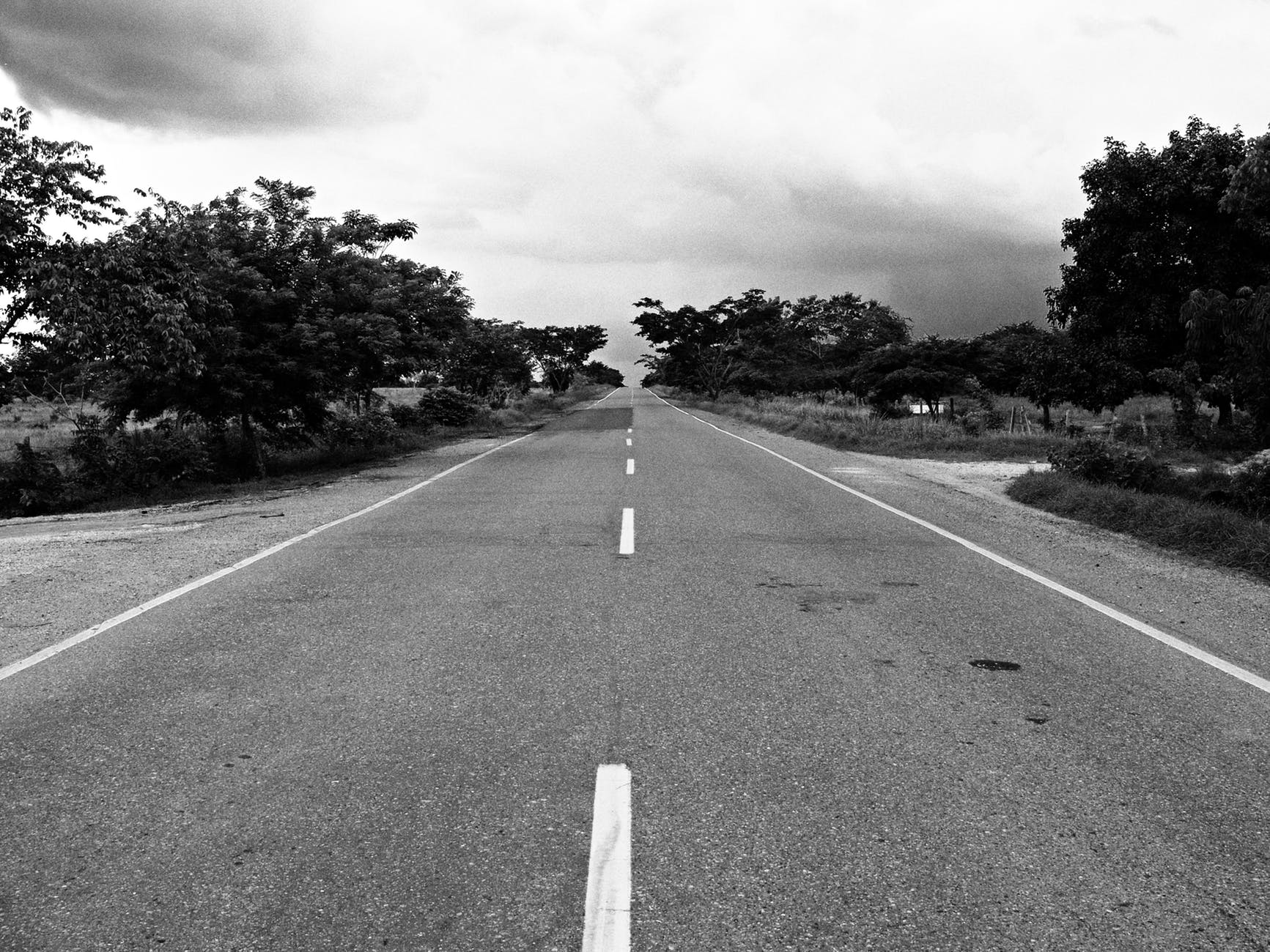 black and white road landscape travelling